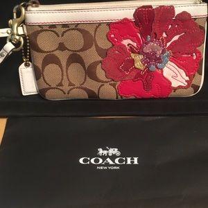 Coach signature khaki/white leather trim poppy red